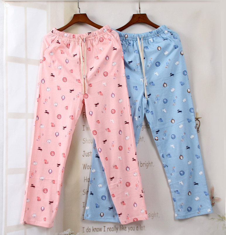 Spring Pure Cotton Suede Pajamas Lovers Trousers Mens and Womens Household Trousers Large-size Home Clothing Pijamas Pijama