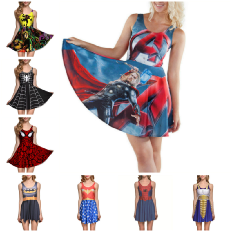 Dress Cosplay For Avengers Batman Superhero Party Captain America Tennis Skirt BodyBuilding Fitness Ultra Instinc Women Fashion