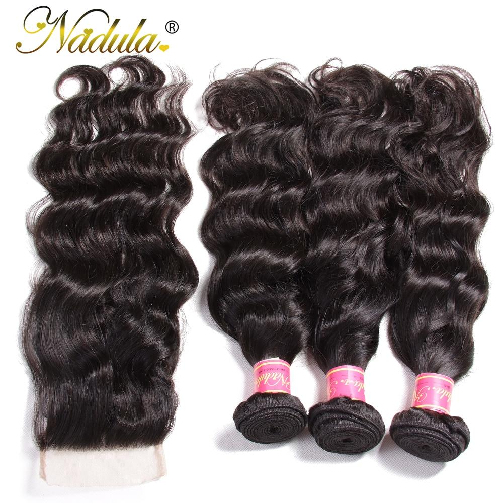 Nadula Hair  Natural Wave Bundles With Closure 100%  With 4*4 Lace Closure Free Part Natural Color  Hair 4