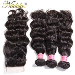 Image 4 - Nadula שיער מלזי טבעי גל חבילות עם סגירת 100% שיער טבעי עם 4*4 סגירת תחרה חלק חינם צבע טבעי רמי שיער