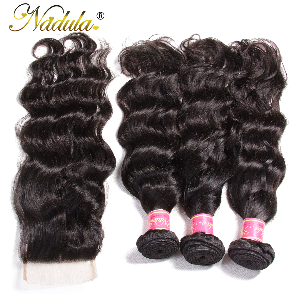 Image 4 - Nadula Hair Malaysian Natural Wave Bundles With Closure 100% Human Hair With 4*4 Lace Closure Free Part Natural Color Remy Hair-in 3/4 Bundles with Closure from Hair Extensions & Wigs