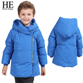 ÉL Hola Disfrutar chicos chaqueta de invierno Azul/Negro cálido parka Con Capucha de Down escudo sólido niños niño ropa de abrigo niños chothing