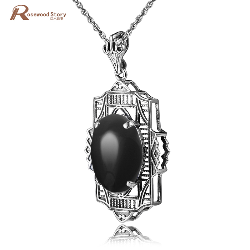Fashion 3.5ct Oval Cut Black CZ Stone Genuine 925 Sterling Silver Knot Crystal Pendant Necklace Antique Charm Necklace For Women