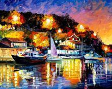 Картина маслом на холсте «лодки в море» для украшения стен