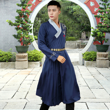Chinese Jinyi Wei costume  men folk style retro cotton hanfu China long gown Traditional Chinese clothes The Ming Dynasty guard