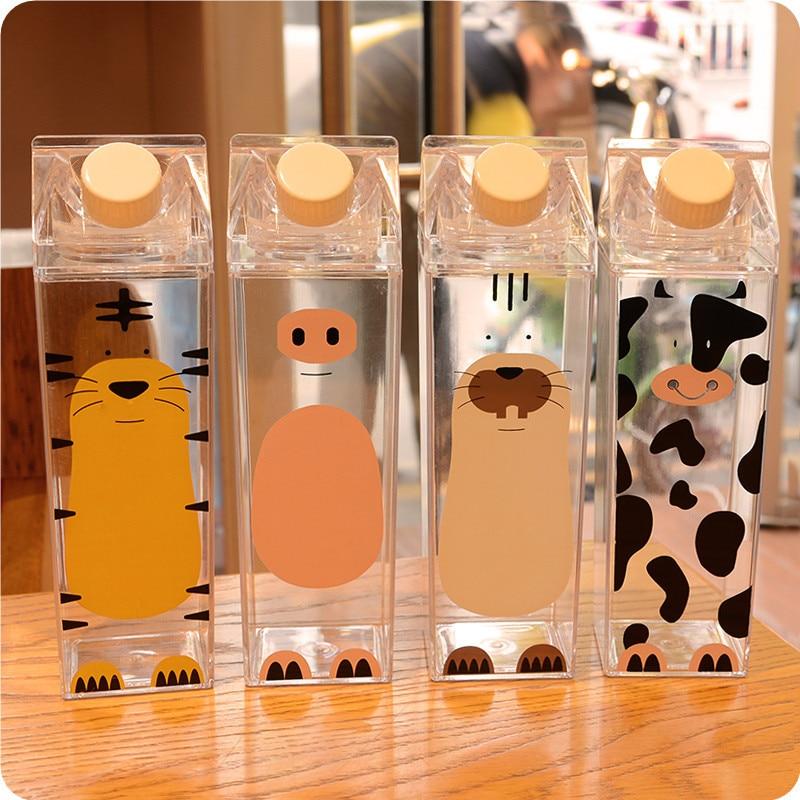 500ml Cute cartoon BPA FREE Creative HIP FLASK Sport outdoor Animal Cow Cat Plastic My Water Bottles doggie Milk kettle