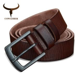 Image 3 - COWATHER 100% جلد البقر أحزمة جلد طبيعي للرجال خمر 2019 تصميم جديد الذكور حزام ceinture أوم 110 130 سنتيمتر الرجال حزام