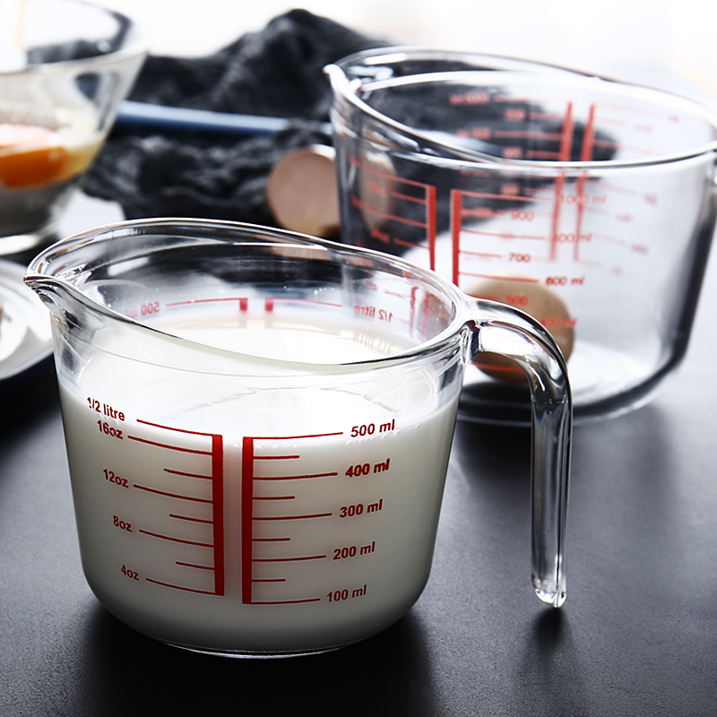 Premium Reinforced Glass Measuring Cup Optional 1000ml & 500ml Measuring Glass Home Baking Tool with Red Measurement Angled Grip