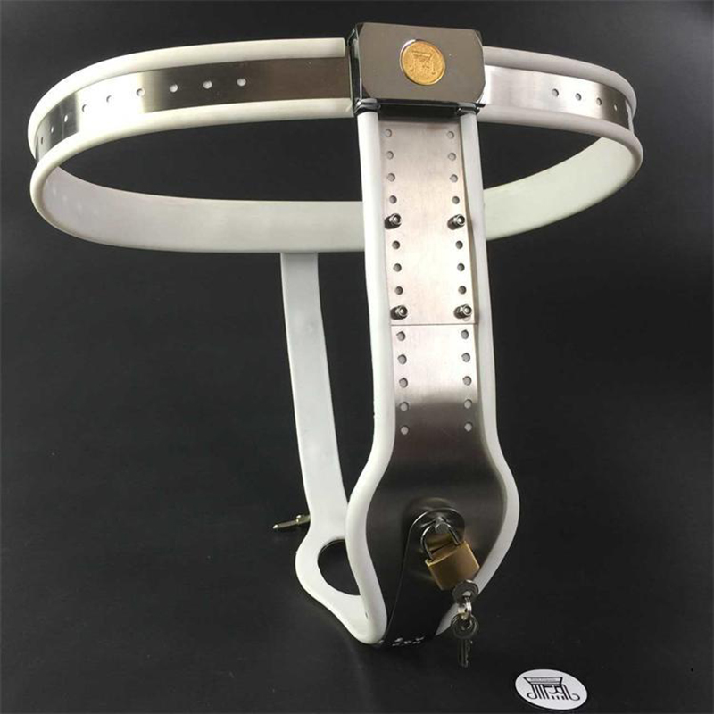 Prevent derailment female chastity belt 100 stainless steel silicone lining adult sex toys for woman BDSM