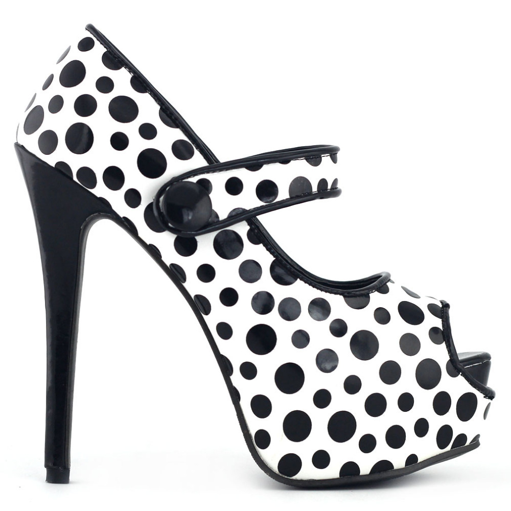 LF80806 New Sexy PeepToe Polka Dots Ankle Strap Platform Pumps mld lf 1127 ankle supports