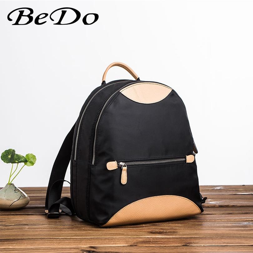 Модные брендовые рюкзаки для девочек, нейлон + натуральная кожа, повседневные сумки, школьный рюкзак для девочек подростков, прочный женский рюкзак - 2