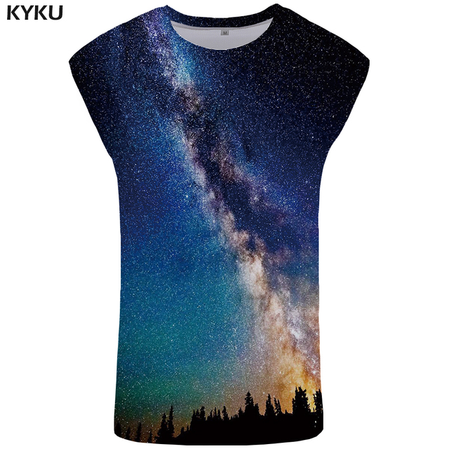 KYKU Galaxy Tank Top Men Black Stringer Forest Mens Bodybuilding Harajuku Ftness Clothing Space Singlet Vest Sleeveless Shirt