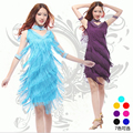 New 2016 Latin Dance Dresses Suits Women/Girls Sexy Fringes long Skirt  Ballroom/Tango/Rumba/Latin Dresses Clothings For Dancer