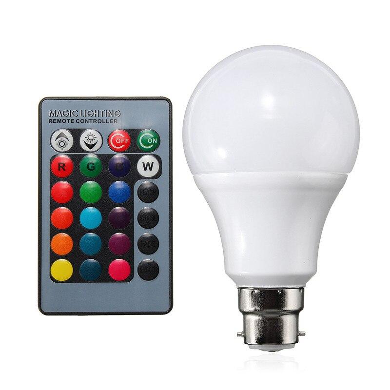 RGB LED Light Bulb B22 5W 10W Color Changing Spotlight Globe Bulb Energy Saving Lamp With 24 Keys Remote Control AC85-265V rgb led light bulb b22 4w dimmable color changing with ir remote controller spotlight lamp bulb home decor lighting ac85 265v