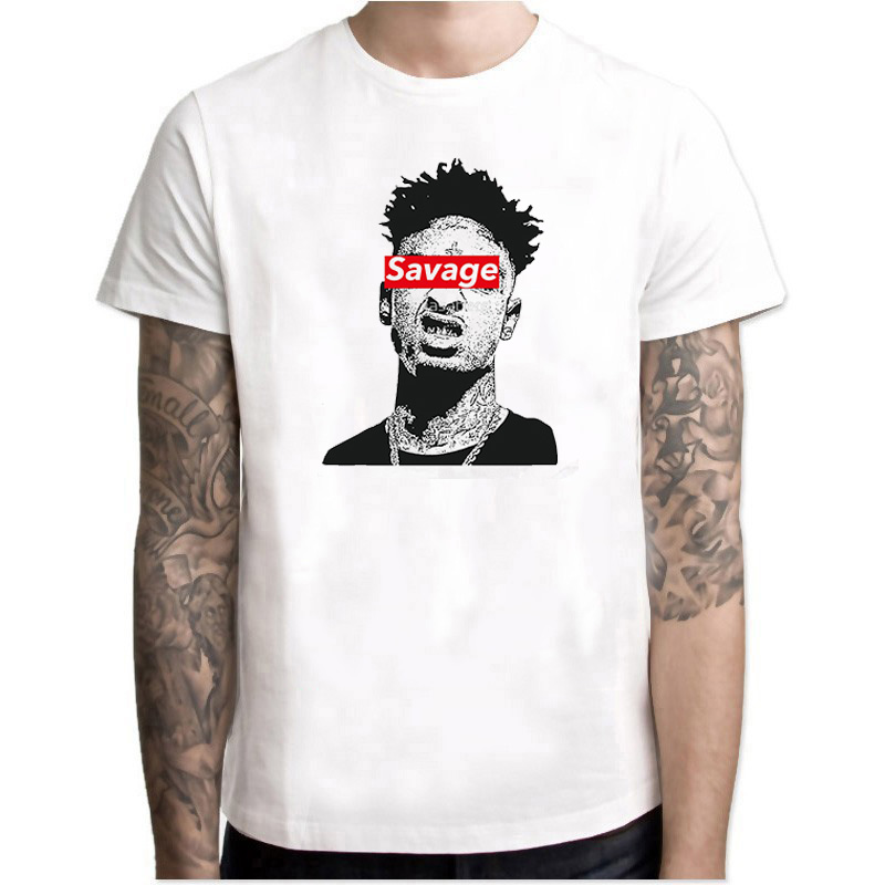 hip hop <font><b>21</b></font> <font><b>savage</b></font> rapper T Shirt Music Man Summer Graphic Tees Singer Male Oversize Clothing Comfortable Tee white Shirt image