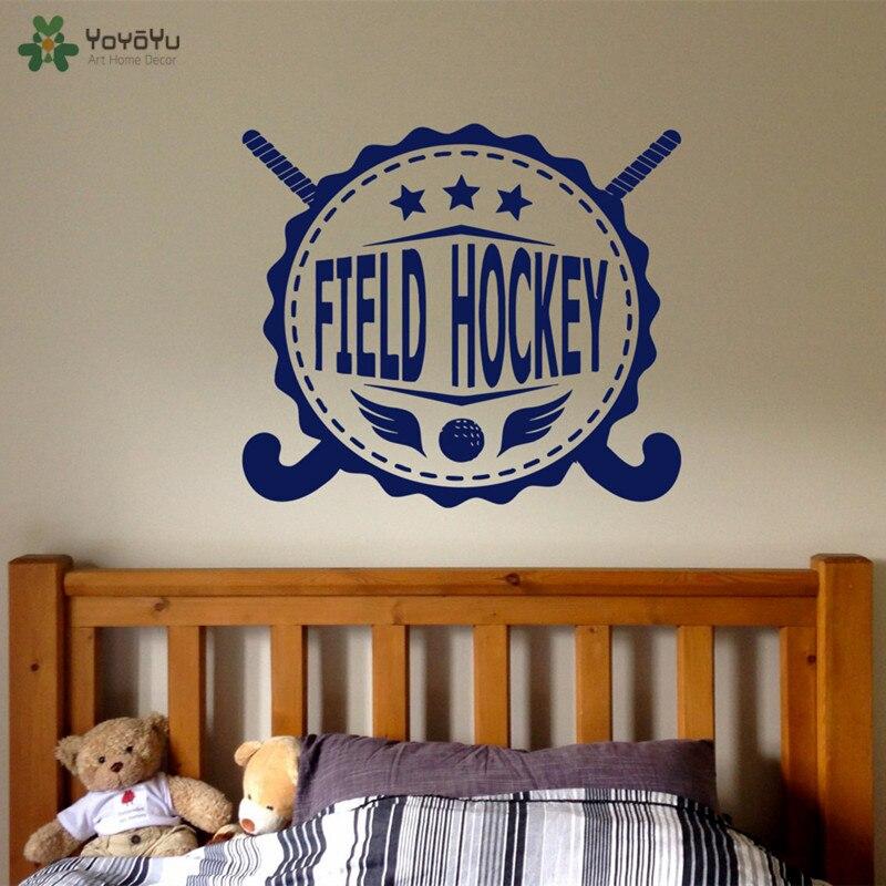 Настенная Наклейка yoyoyoyu, Спортивная виниловая наклейка на стену в виде хоккея для детской спальни, постер с изголовьем кровати, съемный инт...