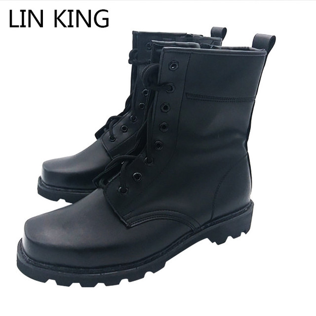 LIN KING Vintage Men Motorcycle Boots Black PU Lace-up Steel Round Toe Military Botas Zipper Army Combat Shoes For Spring Autumn