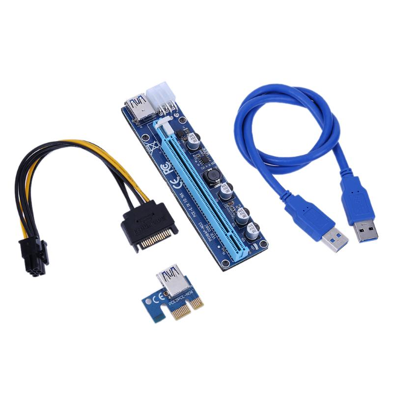 60CM PCI-E Extender PCI Express Riser Card 1X To 16X 008C + USB 3.0 Cable PCI-E Sata 15 Pin To 6 Pin Power For BTC Miner Machine