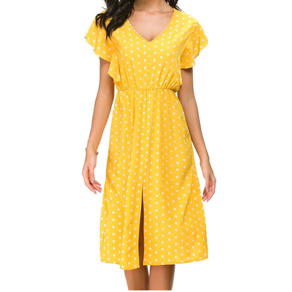 Bohemian Womens Summer Dress Dot Print Short Sleeve V Neck Ruffles Sundress High Waist Elastic Waist Front Split Ladies Vestidos