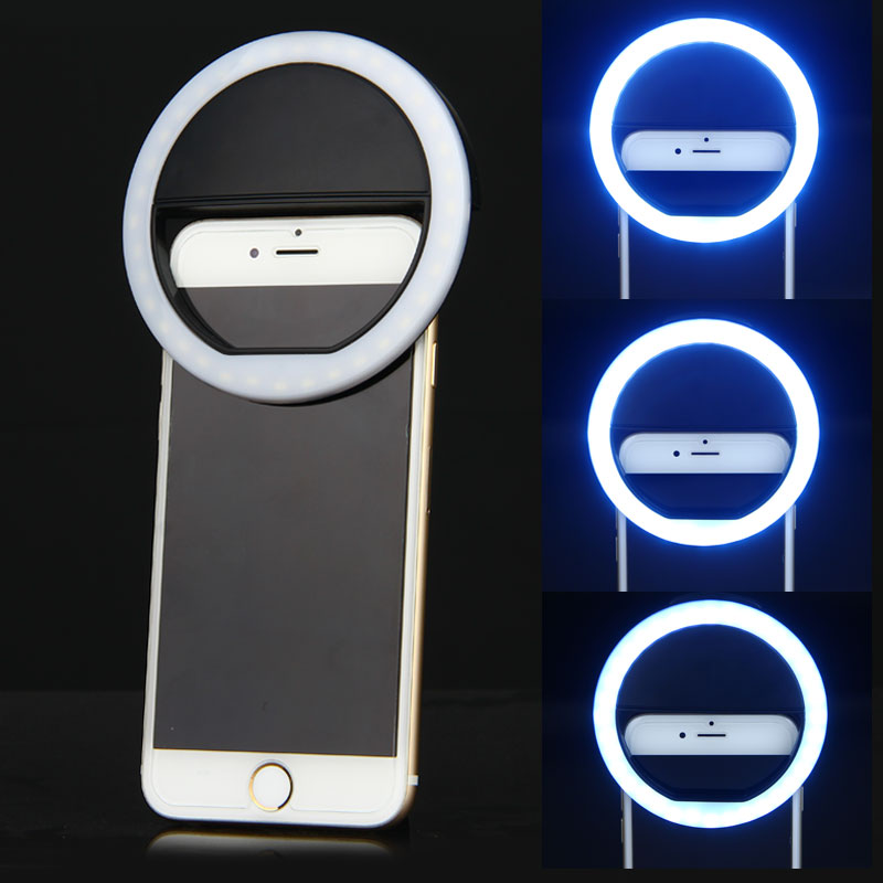 Mrs win LED Light Up Light Mobile Phone Selfie Luminous Ring Light for iPhone Camera Photography Self-timer USB Charging