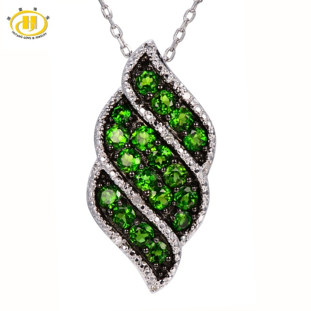Hutang Natural Chrome Diopside & Diamond Pendant 925 Sterling Silver Necklace Green Gemstone Fine Jewelry New