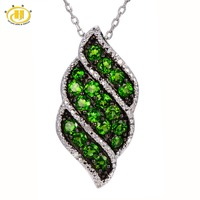 Hutang Stone Jewelry Natural Chrome Diopside Diamond Pendant 925 Sterling Silver Necklace Green Gemstone Fine Jewelry New Gift