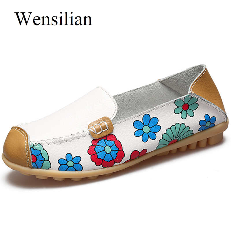 Ballet Flat Shoes Women Moccasins Flower Female Loafers Genuine   Leather   Flats Women Slip On Folding Mother Shoes Zapatos Mujer