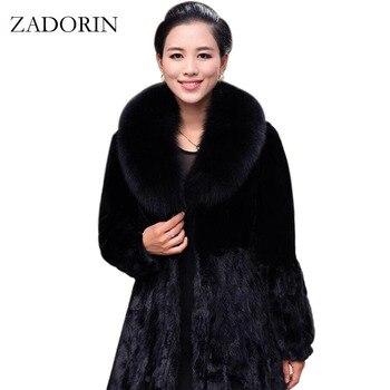 Novo inverno feminino casaco de pele de coelho falso com gola de pele de raposa luxuoso longo casaco de pele preto mex manteau fourrure femme