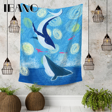 IBANO Cartoon Whale Tapestry Art Wall Hanging Blanket Home Decoration for Bedroom Dorm Yoga Mat Table Cloth Tapestry oversized whale round mat