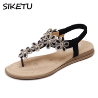 SIKETU Bohemian Ethnic Elegant Women Crystal Flower Thong Ankle Strap Sandals Summer Beach Shoes Woman Flat