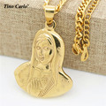 Tino Carlo 2017 Men's  S.Steel Virgin Mary Pendant Thick Necklace Women Goddess Madonna Christ Necklace Quality Product