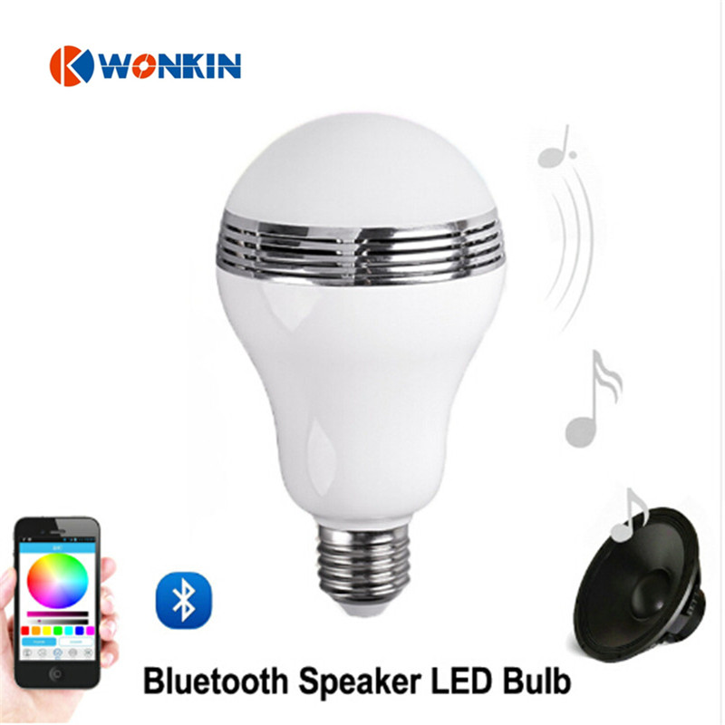 Music LED Bulb smart bulb Bluetooth Speaker LED RGB Light E27 Base Wireless Music Player with APP Remote Control smuxi e27 led rgb wireless bluetooth speaker music smart light bulb 15w playing lamp remote control decor for ios android