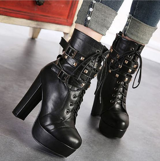 Women high heels pumps Fashion Winter boots Ladies Vintage Combat ...