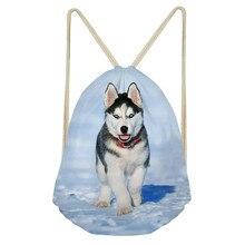 ThiKin Funny Husky Dog Women Drawstring Bag Travel Softback Women Mochila School Student Daily Backpack Custom