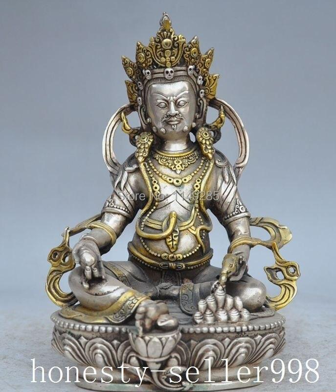 christmas Chinese Tibetan Buddism temple silver copper Yellow Jambhala Vajra Buddha statue halloween