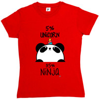 5 Unicorn 95 Ninja Black White Panda Womens Ladies T Shirt Funny Tracksuit Grunge Clothing Funny
