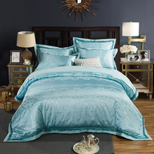 2018 European Style Blue Bedding Set 4Pc Queen King Size Silk Cotton Jacquard Fabric Duvet Cover Flat Sheet Pillowcases