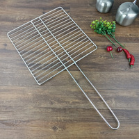 JIANDA Stainless Steel Long Handle Barbecue Wire Mesh BBQ Net Meat Fishes BBQ Grills Outdoor BBQ Grill Tools Kitchen Accessories