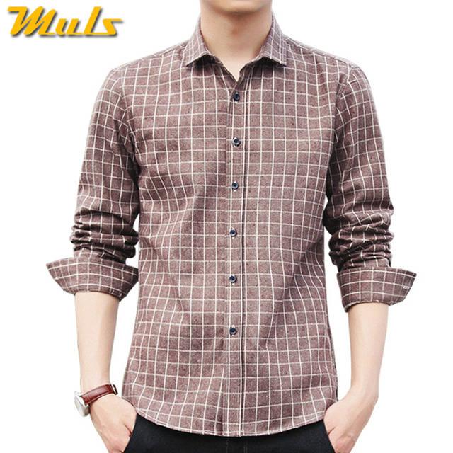 1daff703dc Online Shop 4Colors Plaid shirts men long sleeve casula 2017 autumn spring  new cotton male shirts plus size M-4XL Muls Brand Clothing MS101