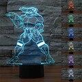 5 V USB 3D Lâmpada Tartaruga Ninja Figura Brinquedos Iluminação LED Luminaria Lâmpada Tartaruga Luz da noite para Crianças de 7 Cores Flash LED Presente