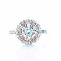 Модные ювелирные изделия кольцо из стерлингового серебра 925 круглой огранки 2ct Диамант розовый 2 объемный проложить Установка обручальное к