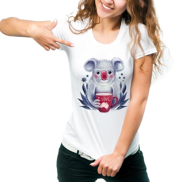 Women S T Shirt Kawaii Koala Printed Las Tops Harajuku Australia Design Short Sleeve Hipster Lady Tees