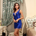 Sexy Lace Nightgown V Neck Silk Satin Night Dress Girl's Underwear Nightdress Sleep Lounge Womens Nightwear Night Sleep Dress 13
