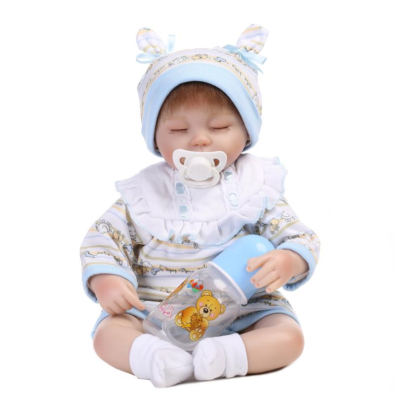ФОТО 18 inch Lifelike silicone reborn dolls toys  Best Gift For Kids Girls Soft Cloth Body Babies Princess Toys