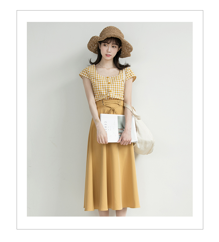 Chic Fashion Two-piece Casual Suits Female Summer 2018 Women Yellow Red Plaid T Shirt A Line Skirt Sets Retro Midi Skirt Suits 7