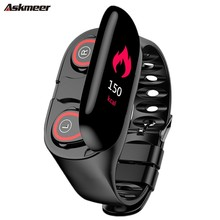ASKMEER The latest AI Smart Watch with Bluetooth Headset Heart Rate Monitor Wristband Long Standby Bracelet PK mi band 3