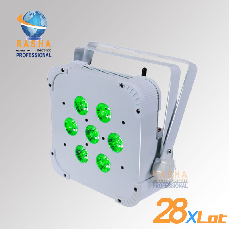 28X Hot Sale Rasha Quad 7*10W RGBA/RGBW 4in1 Wireless LED Flat Par Profile,LED Flat Par Can,Disco DMX512 Stage Light