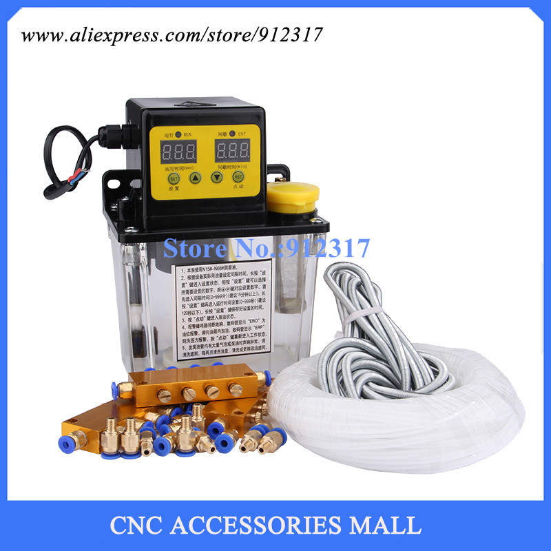 Full set 1L AC Electric Auto Lubrication Pump CNC Digital electronic Timer Oil Pump AC220V