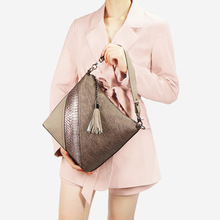 Snakeskin Modelling Shoulder Bag Female 2018 New Style Trend Fashion In Europe And America Panel Contrasting Color Pu Handbags
