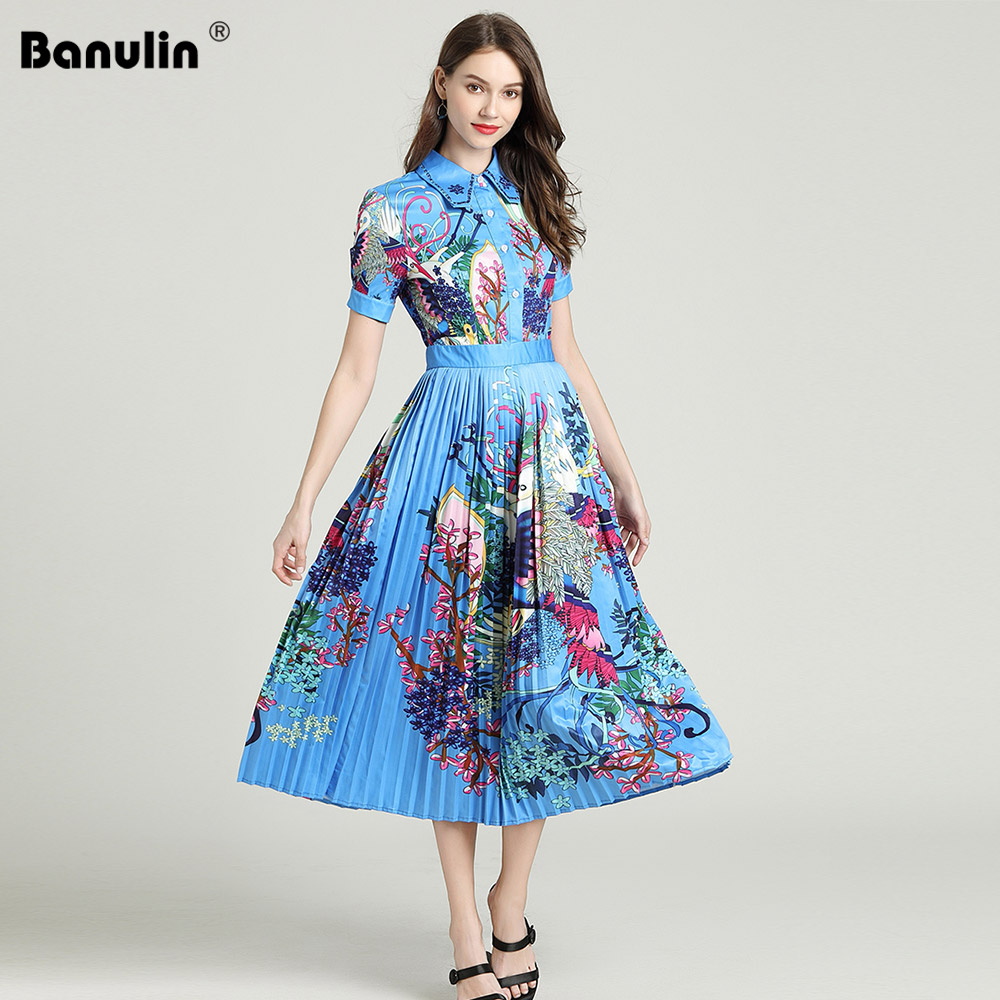 Image 4 - Banulin 2019 Runway Designer Autumn Dress Womens Short Sleeve  Casual Holiday Blue Floral Print Slim Pleated Elegant DressDresses   -